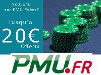 PMU Poker offre 20 Euro à ses nouveaux membres