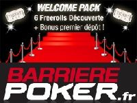 Poker : le Welcome Pack de Barrière Poker