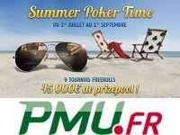 PMU Poker : 9 Freerolls Summer Poker Time à 5 000 Euro