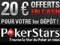 PokerStars vous offre 20 Euro en Cash pour tout 1er dépôt