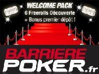 Poker : le Welcome Pack de Barrière Poker