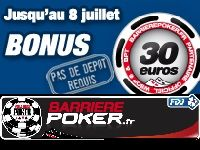 Barrière Poker vous offre 30 Euro jusqu'à la fin du mois