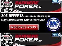 Barrière Poker : dernier mois pour les 30 Euro offerts