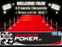 Barrière Poker vous accueille avec 6 Freerolls Découverte