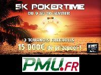 PMU Poker : 15 000 Euro pour 3 Tournois Freerolls Poker Time